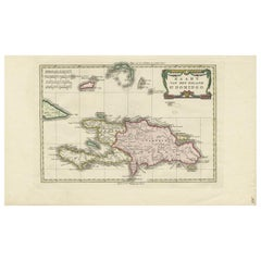 Antique Map of the Island of St. Domingo by Raynal, 1784