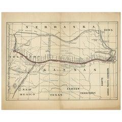 Antique Map of the Kansas Pacific Railroad, circa 1900