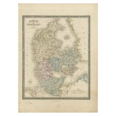 Antique Map of the Kingdom of Denmark by Wyld '1845'