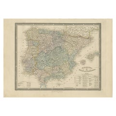 Antique Map of the Kingdoms of Spain and Portugal by Wyld '1845'