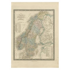 Antique Map of the Kingdoms of Sweden and Norway by Wyld '1845'