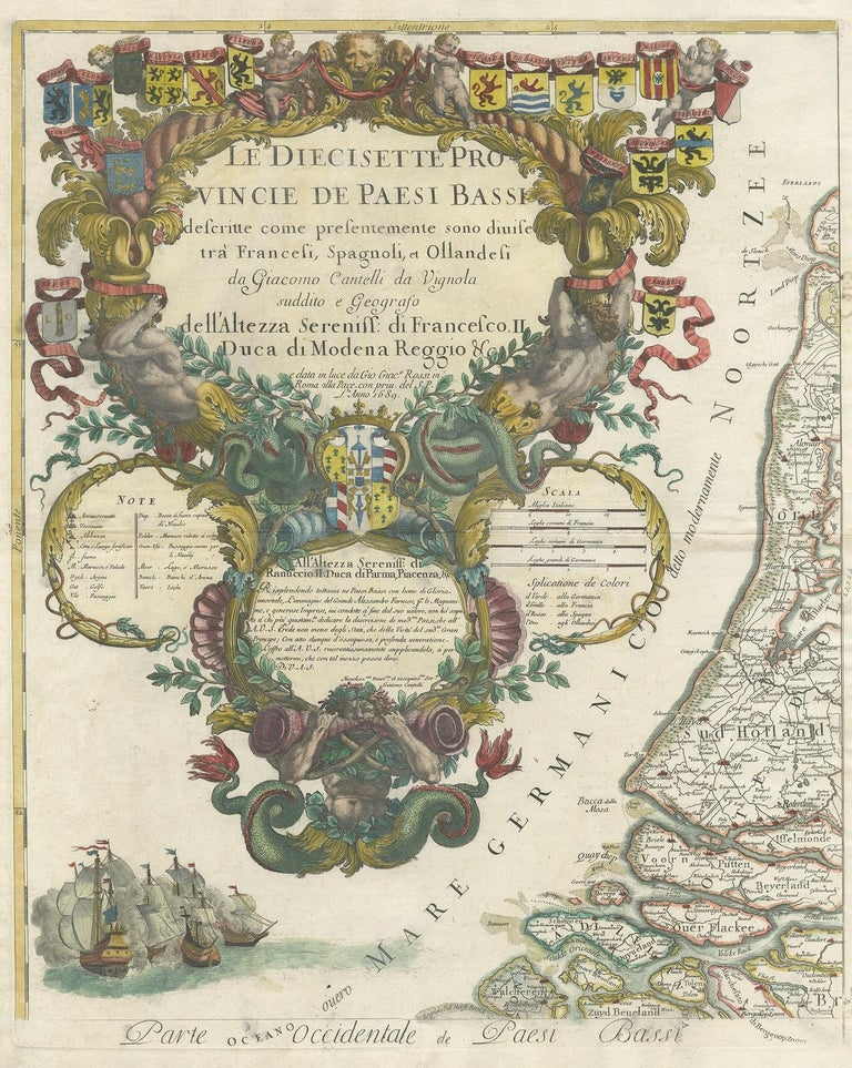 Antique map titled 'Le Diecisette Provincie de Paesi Bassi'. Part of a larger wall map of the 'Low Countries' consisting of four sheets. This specific sheet shows the large and richly decorated title cartouche and part of the Netherlands. Engraved