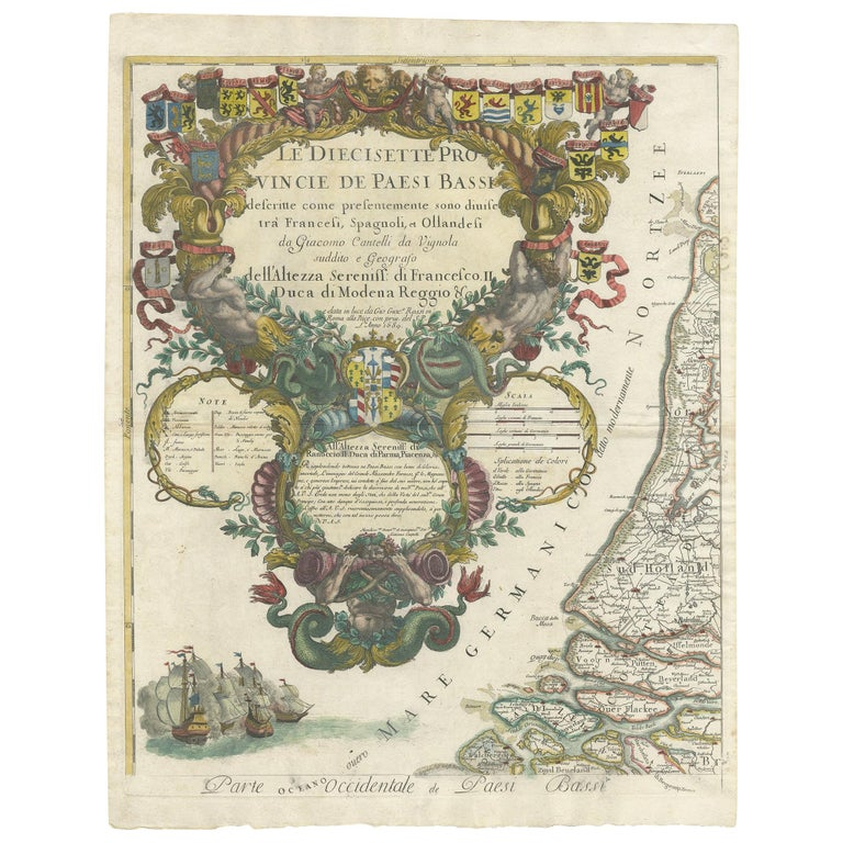 Antique Map of the 'Low Countries' by a. Barbey For Sale