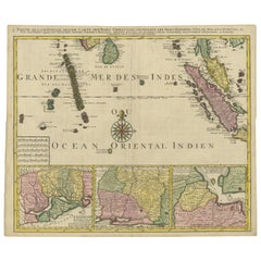 Antique Map of the Maldives and Part of Southeast Asia by Ottens, circa 1750
