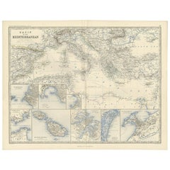 Antique Map of the Mediterranean by A.K. Johnston, 1865