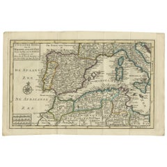 Antique Map of the Mediterranean Sea and Surroundings by Keizer & de Lat, 1788