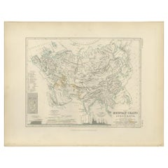 Antique Map of the Mountain Chains of Europe and Asia by Johnston '1850'