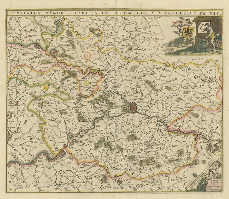 Antique map titled 'Comitatus Namurci Tabula in Lucem Edita'. Large map of the Namur region, France. Published by F. de Wit, circa 1680.
