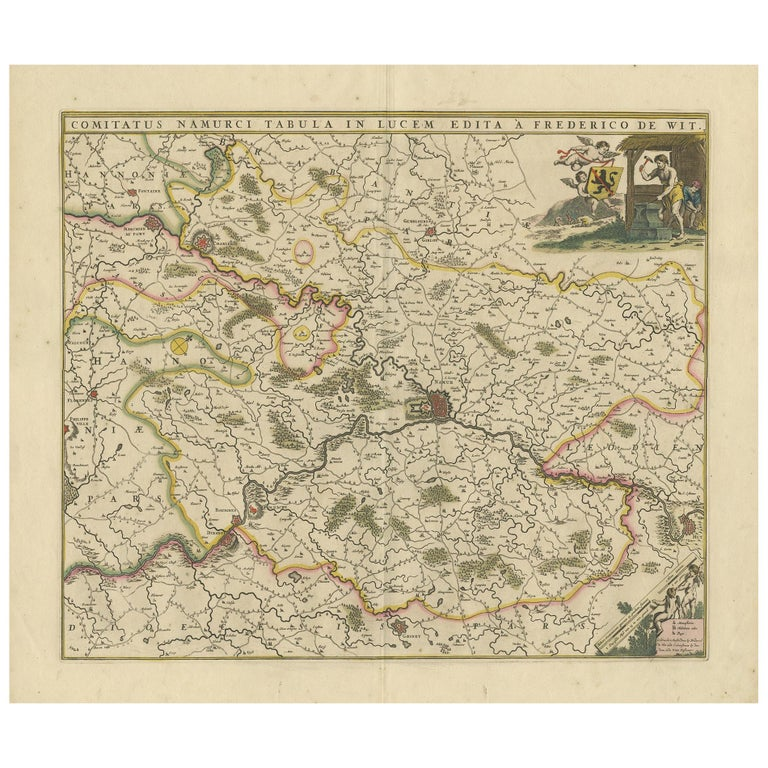 Antique Map of the Namur Region 'France' by F. de Wit, circa 1680 For Sale