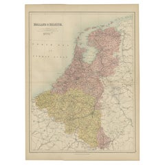 Antique Map of The Netherlands and Belgium by A & C, Black, 1870