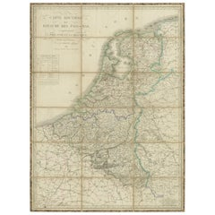 Antique Map of the Netherlands and Belgium by Hérisson, 1829