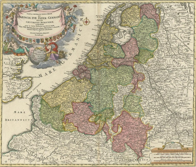 Antique Map of the Netherlands and Belgium by Homann, circa 1710