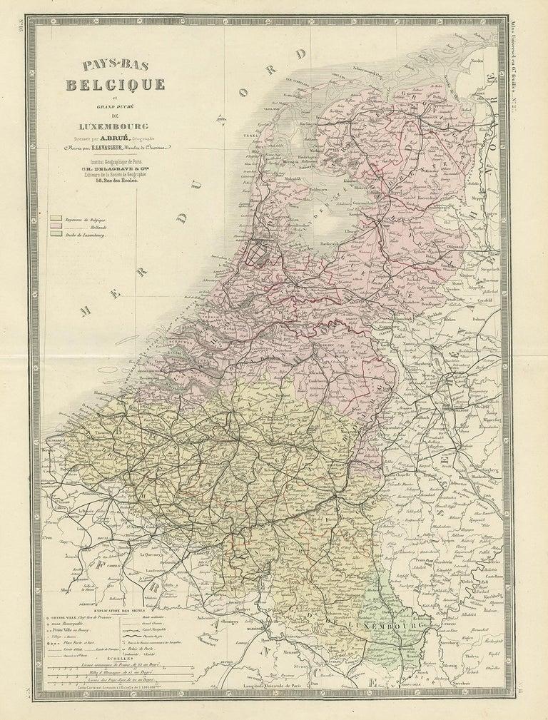 Antique map titled 'Pays-Bas Belgique (..)'. Large map of the Netherlands and Belgium. This map originates from 'Atlas de Géographie Moderne Physique et Politique' by A. Levasseur. Published 1875.