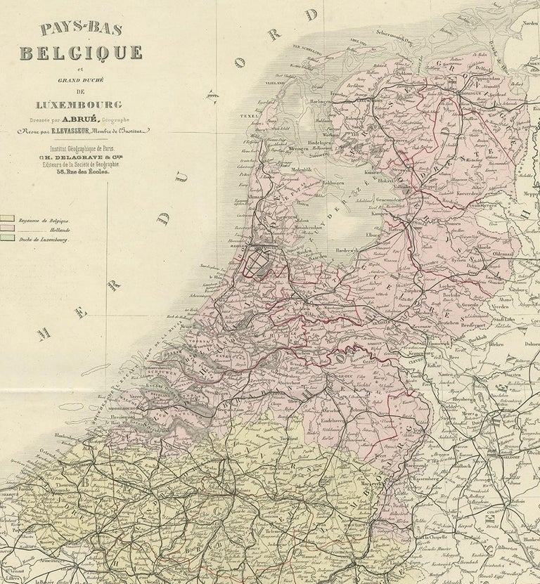 Antique Map of the Netherlands and Belgium by Levasseur '1875' In Good Condition For Sale In Langweer, NL