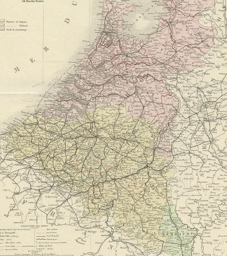 19th Century Antique Map of the Netherlands and Belgium by Levasseur '1875' For Sale