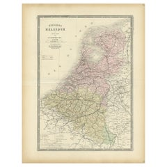 Antique Map of the Netherlands and Belgium by Levasseur '1875'