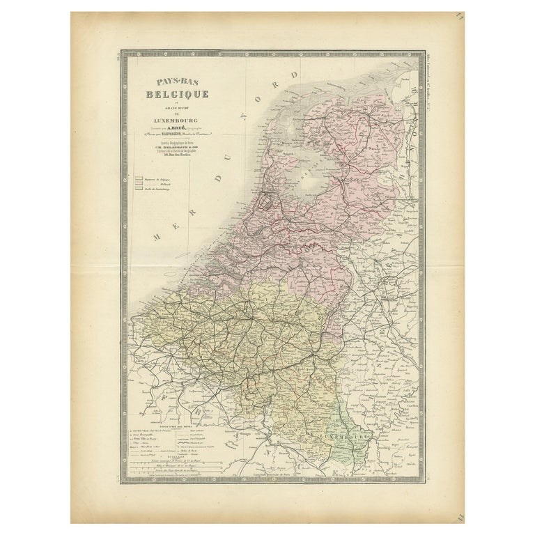 Antique Map of the Netherlands and Belgium by Levasseur '1875' For Sale
