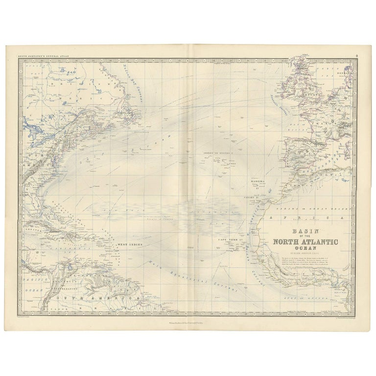 A.K. Johnston map of the North Atlantic, 1865