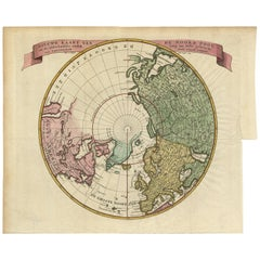 Antique Map of the Northern Hemisphere and North Pole by Tirion, circa 1754