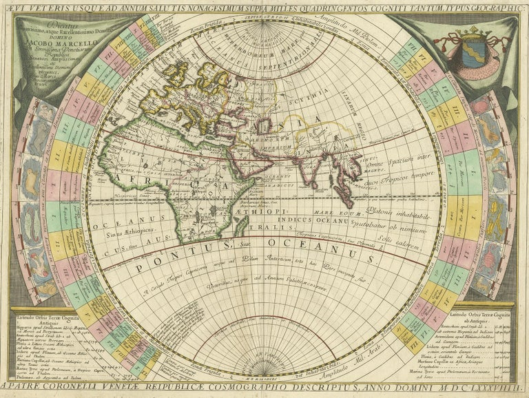 Antique map titled 'Dicatus Illustrissimo atque Excellentissimo Domino (..)'. Fine example of Coronelli's map of the Old World, dedicated to Jacobo Marcello. Coronelli bases his map on classical geography, as known at the time of Ptolemy, Strabo and