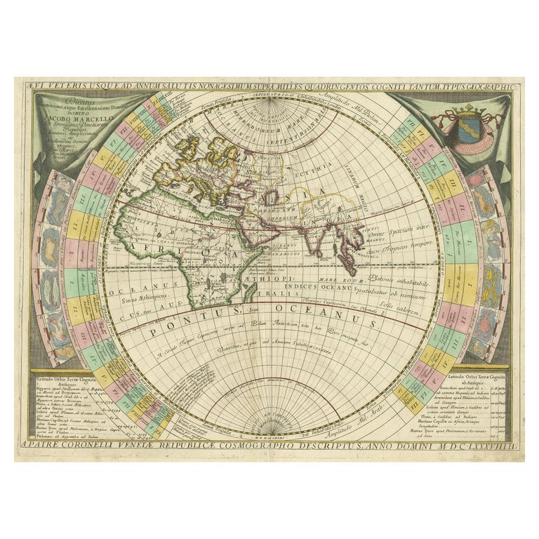 Antique Map of the Old World by Coronelli, circa 1690
