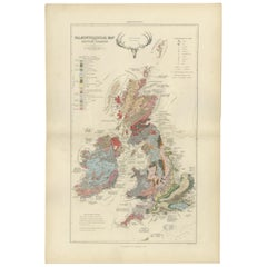 Antique Map of the Palaeontology of the British Isles by Johnston '1850'