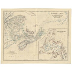 Antique Map of the Province of Canada 'East' by A.K. Johnston, 1865