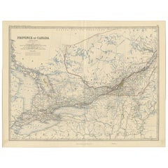 Antique Map of the Province of Canada 'West' by A.K. Johnston, 1865