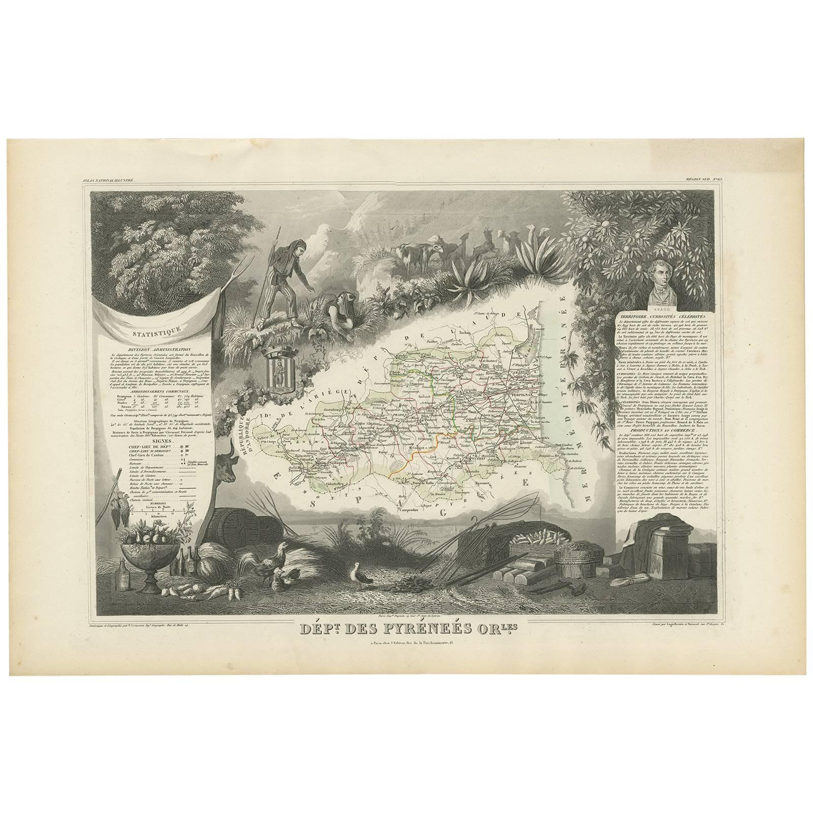 Antique Map of the Pyrenees Orientales 'France' by V. Levasseur, 1854