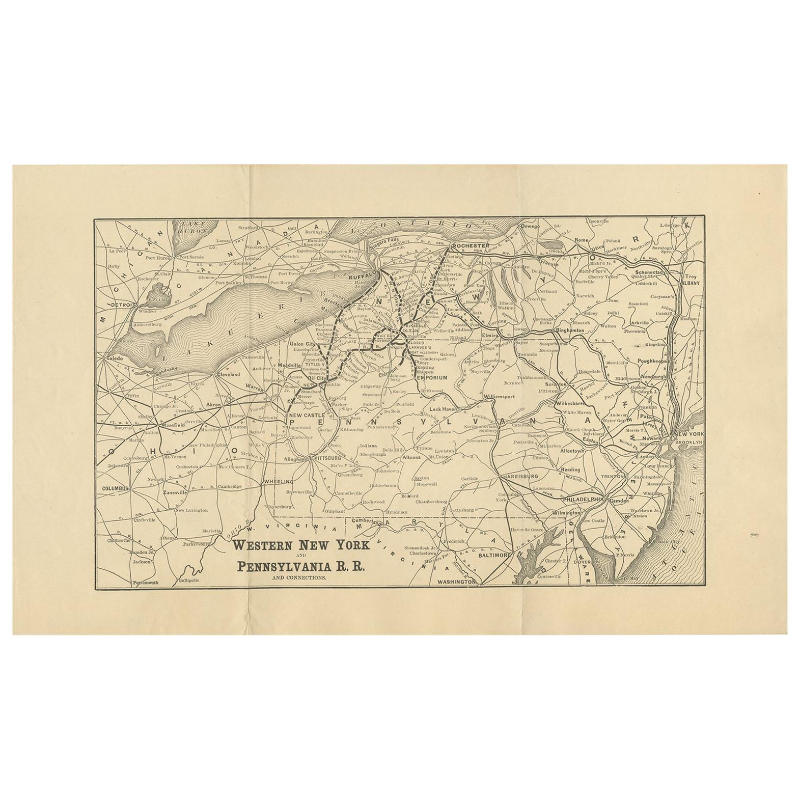 Antique Map of the Railroad of New York and Pennsylvania, circa 1890