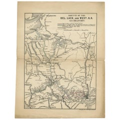 Antique Map of the Railway between New York and Oswego 'circa 1890'