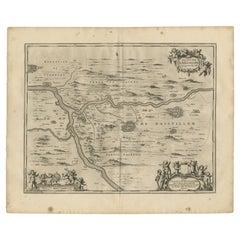 Antique Map of the Region of Aiguillon by Janssonius, 1657