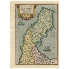 Antique Map of the Region of Apulia by Ortelius, 1612