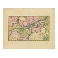 Antique Map of the Region of Bouchain and Cambrai by Visscher 'circa 1680'