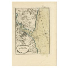 Antique Map of the Region of Boulogne-sur-Mer by Bellin '1764'