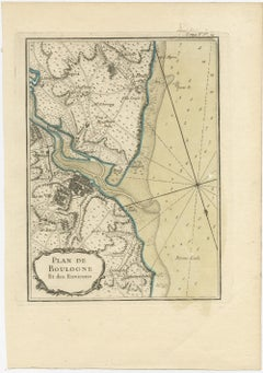 Antique Map of the region of Boulogne-sur-Mer by Bellin (1764)