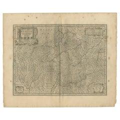 Antique Map of the Region of Graubünden by Janssonius, 1657