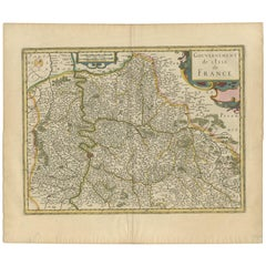 Antique Map of the Region of Île-de-France by Hondius, circa 1630