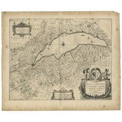 Antique Map of the Region of Lake Geneva by Janssonius, 1657