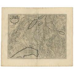 Antique Map of the Region of Lake Geneva by Janssonius '1657'
