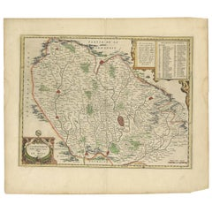 Antique Map of the Region of Le Mans 'France' by Blaeu, 'circa 1640'