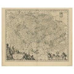 Antique Map of the Region of Maine by Janssonius, circa 1650