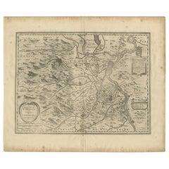 Antique Map of the Region of Orange and Avignon by Janssonius, 1657
