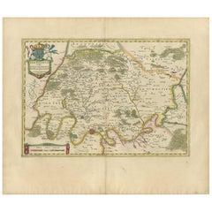 Antique Map of the Region of Paris and the Seine River, circa 1640