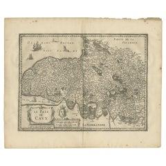 Antique Map of the Region of Pays de Caux by Janssonius, 1657