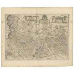 Antique Map of the Region of Picardy by Janssonius, 1657