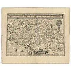 Antique Map of the Region of Poitou by Janssonius, 1657