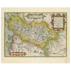 Antique Map of the Region of Poitou by Ortelius, circa 1600