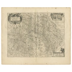 Antique Map of the Region of Rethelois by Janssonius, 1657