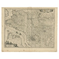 Antique Map of the Region of Saintonge by Janssonius, 1657